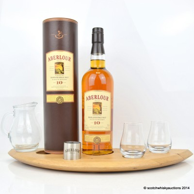 Aberlour 10 Year Old, 2 x Glasses, Water Jug, Measure & Wooden Plinth
