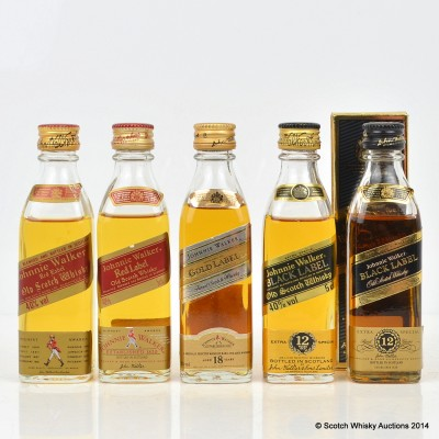 Johnnie Walker Minis x 5 Including Gold Label 5cl