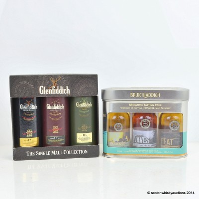 Glenfiddich Single Malt Collection 3 x 5cl & Bruichladdich Miniature Tasting Pack 3 x 5cl