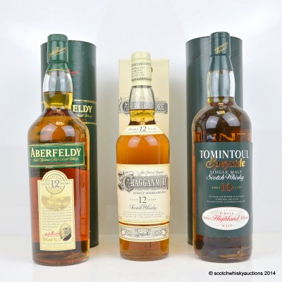 Aberfeldy 12 Year Old 1L, Tomintoul 10 Year Old 1L & Cragganmore 12 Year Old