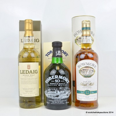 Bowmore 12 Year Old, Tobermory 10 Year Old & Ledaig Malt