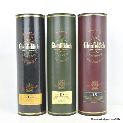 Glenfiddich Ancient Reserve 18 Year Old, Glenfiddich Solera Reserve 15 Year Old & Glenfiddich Special Reserve 12 Year Old