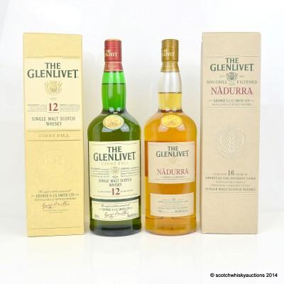 Glenlivet First Fill 12 Year Old 1L & Glenlivet Nadurra 16 Year Old 1L