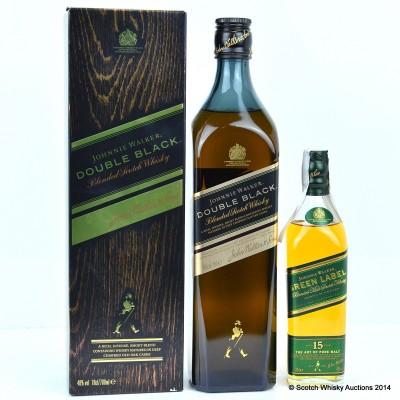 Johnnie Walker Double Black & Johnnie Walker Green Label 15 Year Old 20cl
