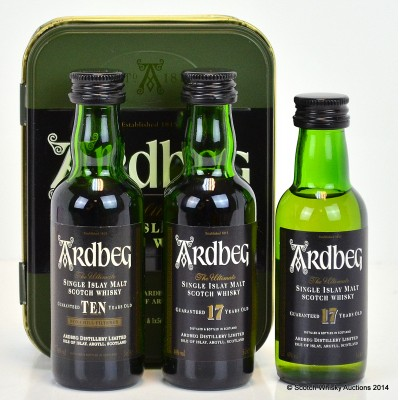 Ardbeg 10 Year Old & Ardbeg 17 Year Old Minis Tin & Ardbeg 17 Year Old 3 x 5cl