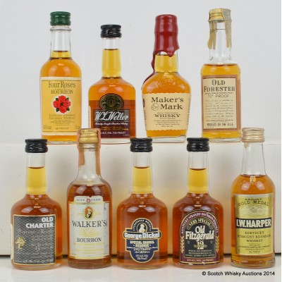 Assorted Minis x 9 Including Four Roses 5cl