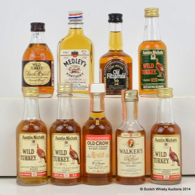 Assorted Minis x 9 Including Wild Turkey Rare Breed 5cl