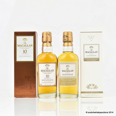 Macallan 10 Year Old & Gold Minis 5cl