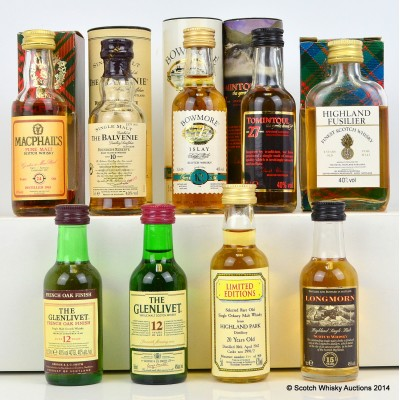 Assorted Minis x 9 Including Tomintoul 27 Year Old