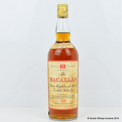 Macallan 10 Year Old 70° Proof 26 2/3 Fl Ozs