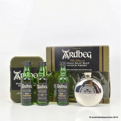 Ardbeg 10 Year Old & Ardbeg 17 Year Old Minis 2 x 5cl & Ardbeg 10 Year Old Mini 5cl & Hipflask Set
