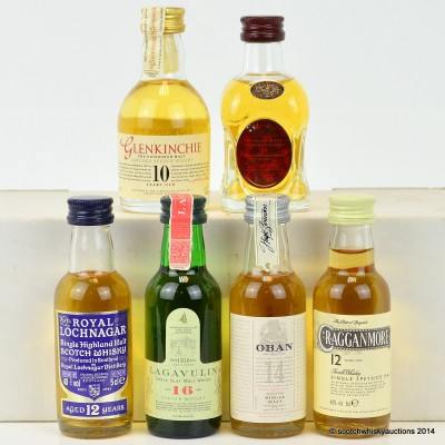 Assorted Minis x 6 Including Lagavulin 16 Year Old