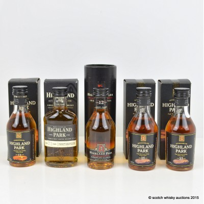 Highland Park Minis x 5 Including 25 Year Old Dumpy 5cl
