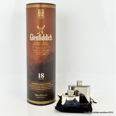 Glenfiddich 18 Year Old & Glenfiddich Hip Flask x 2