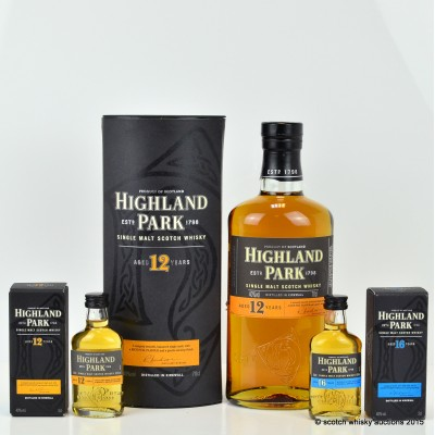 Highland Park 12 Year Old with Matching Mini & Highland Park 16 Year Old Mini 5cl