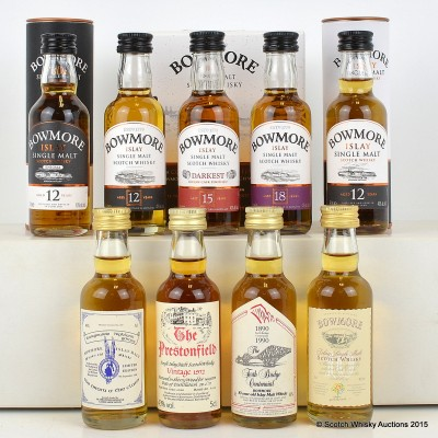 Bowmore Minis 6 x 5cl Including Bowmore Enigma 12 Year Old & Bowmore Mini Pack 3 x 5cl