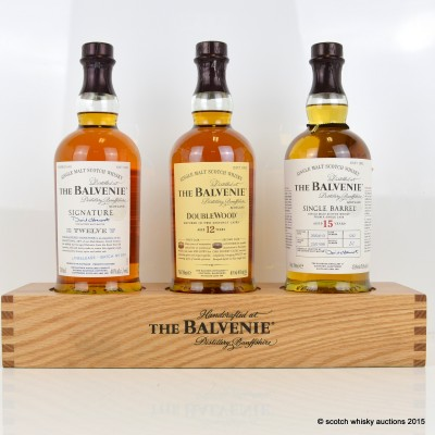 Balvenie Single Barrel 15 Year Old, Signature 12 Year Old Batch #1, 12 Year Old Doublewood & Three Bottle Stand