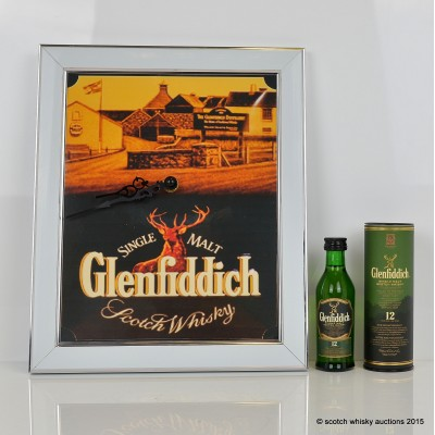 Glenfiddich 12 Year Old Mini 5cl & Clock