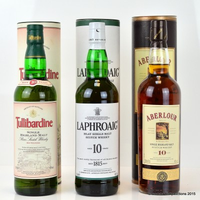Aberlour 10 Year Old, Laphroaig 10 Year Old & Tullibardine 10 Year Old