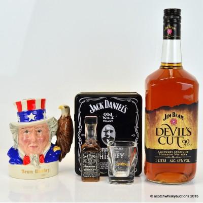 Jim Beam Royal Doulton Uncle Sam Decanter 20cl, Jim Beam Devil's Cut,  1L & Jack Daniel's Mini 5cl & Shot Glass Set