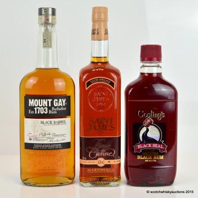 Mount Gay Black Barrel, Gosling's Black Seal 75cl & Saint James Fleur de Canne