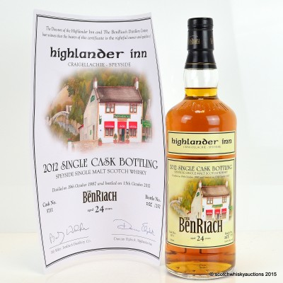 BenRiach 1987 24 Year Old Highlander Inn Private Bottling with Certificate