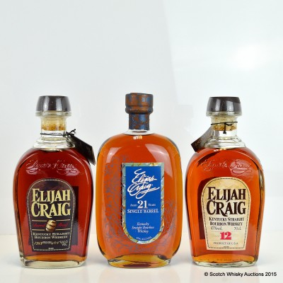 Elijah Craig Barrel Proof, Elijah Craig Single Barrel 21 Year Old 75cl & Elijah Craig 12 Year Old