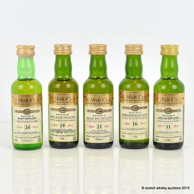 Assorted Old Malt Cask Minis 5 x 5cl Including Banff 24 Year Old
