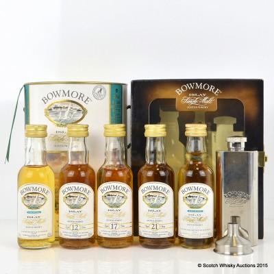 Bowmore Minis Set - Legend x2, 12, 17,& 21 Year Old 4 x 5cl & Small Hip Flask Gift Set