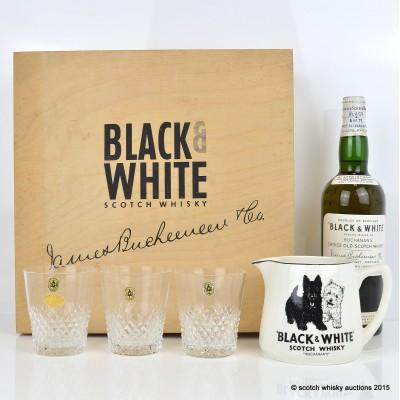 Black & White Spring Cap Set Glasses x 3 And Water Jug In Presentation Box