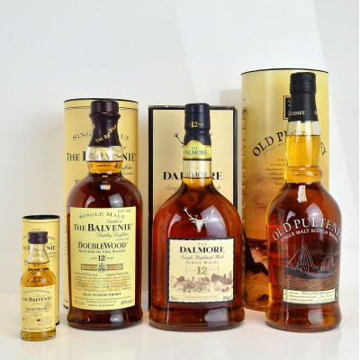 Dalmore 12 Year Old Old Style, Old Pulteney 12 Year Old, Balvenie DoubleWood 12 Year Old & Matching Mini