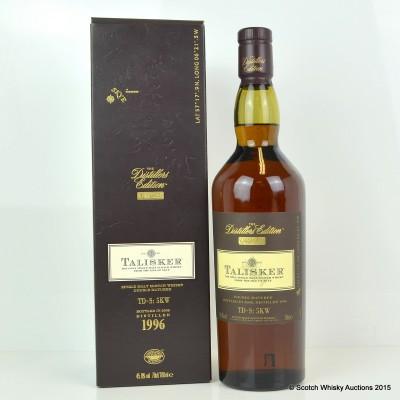Talisker distillers edition 1996 1ltr single malt scotch whisky.