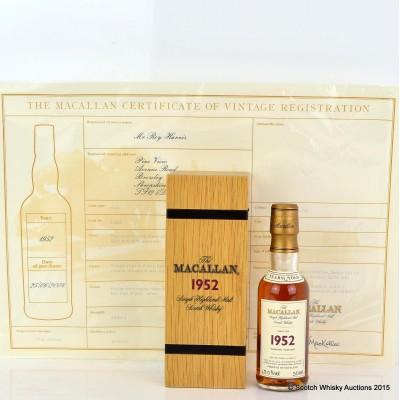 Macallan Fine & Rare 1952 Mini 5cl With Certificate
