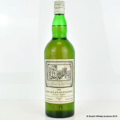 Macallan-Glenlivet 1958 Berry Bros & Rudd 26 2/3 Fl Oz