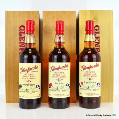 Glenfarclas 43 Year Old Cognac Cask, 31 Year Old Port Cask & 25 Year Old Quarter Cask