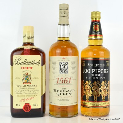 Seagram's 100 Pipers 1L, Ballantine's Finest 1L & The Highland Queen 1L