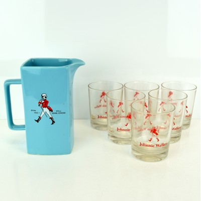 Johnnie Walker Ceramic Water Jug & x 6 Glasses