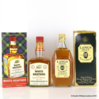 White Heather 26 2/3 Fl Oz & Langs Select 12 Year Old 75cl