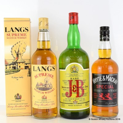 Langs Supreme 75cl, J&B 1.125L & Whyte & Mackay Special