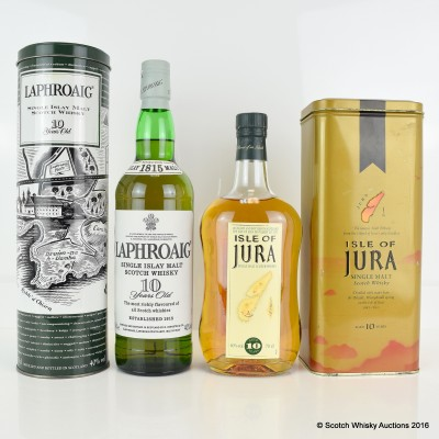 Laphroaig 10 Year Old In Tin & Jura 10 Year Old Old Style