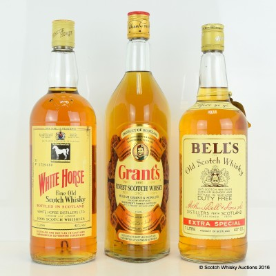 White Horse 1L, Bell's Extra Special 1L & Grant's 1L