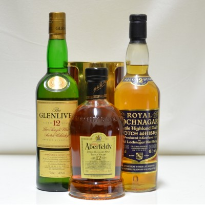 Aberfeldy 12 In Tin, Royal Lochnagar & Glenlivet 12