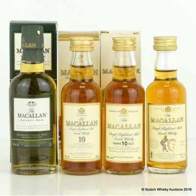 Assorted Macallan Minis 5cl x 4 Including Macallan Select Oak