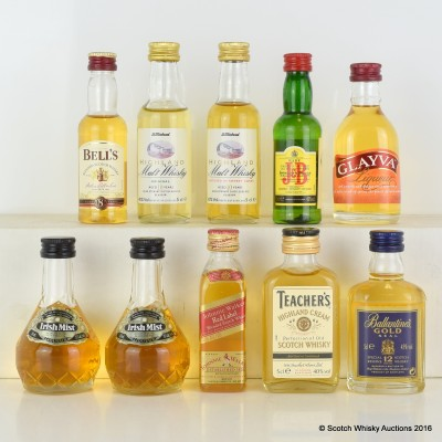 Assorted Minis x 10 Including Ballantine's Gold Seal 5cl