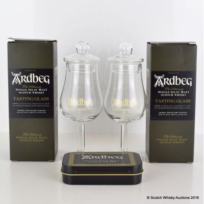 Ardbeg Tasting Glasses x 2 & Ardbeg Peat Cones