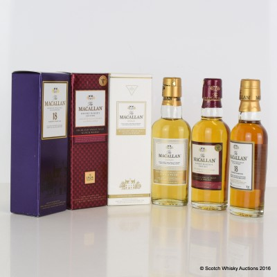 Assorted Macallan Miniatures 3 x 5cl Including Macallan 18 Year Old 5cl