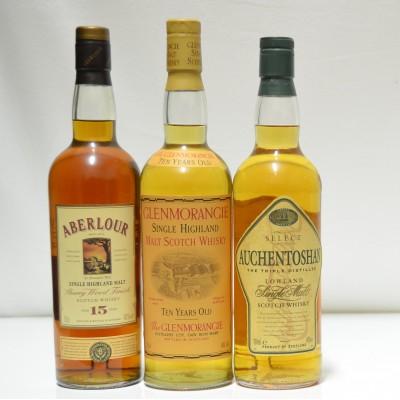 Aberlour 15, Auchentoshan Select, Glenmorangie 10