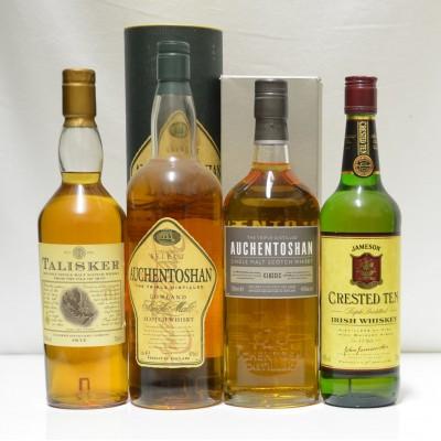 Auchentoshan Classic, Talisker 10, Jameson Crested 10, Auchentoshan Select 1L