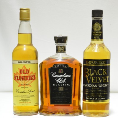 Black Velvet, Old Klondike, Canadian Club Classic 1L