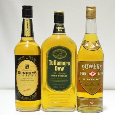 Powers Gold Label, Tullamore Dew, Dunphys